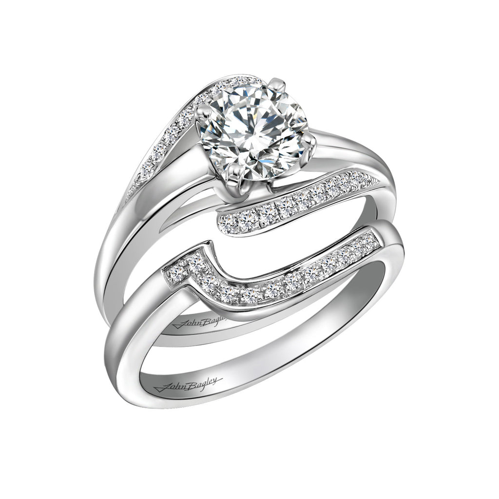 14kt Freeform Diamond Engagement Ring Set