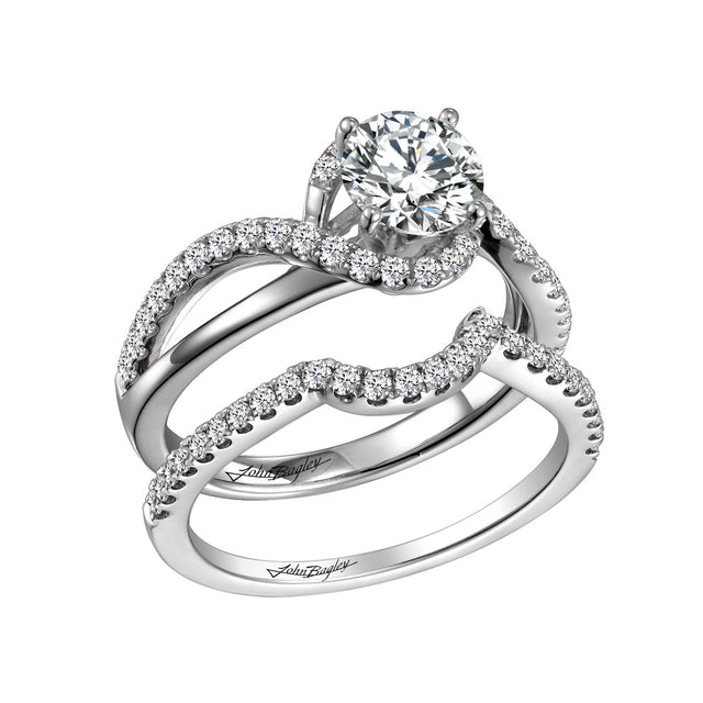 14kt halo ring set with diamond shank and matching band