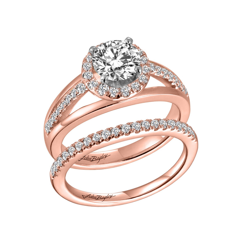 Triple Shank Halo Engagement Ring