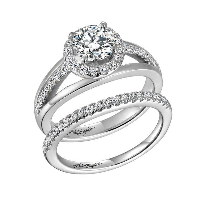 Triple Shank Halo Engagement Ring - Chalmers Jewelers