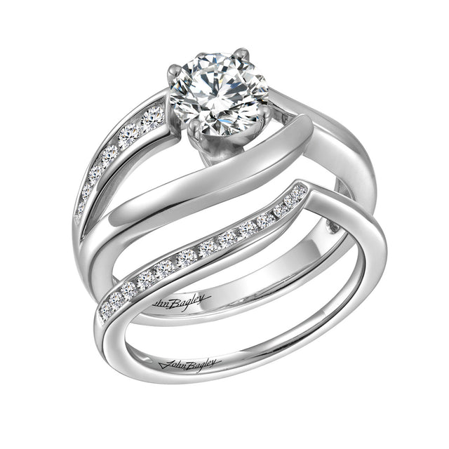 Freeform Solitaire Engagement Set - Chalmers Jewelers