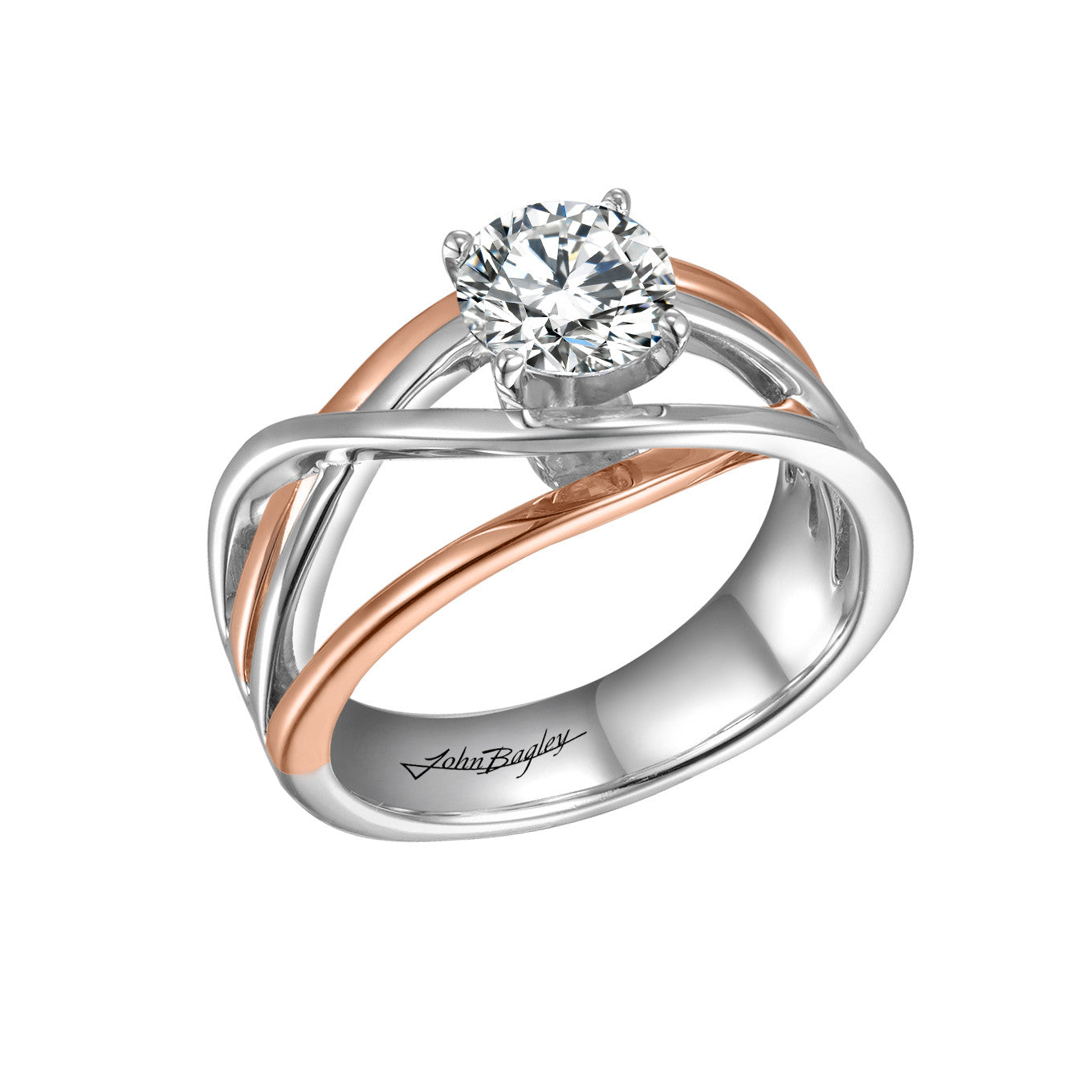 14kt White and Rose Gold Solitaire Engagement Ring