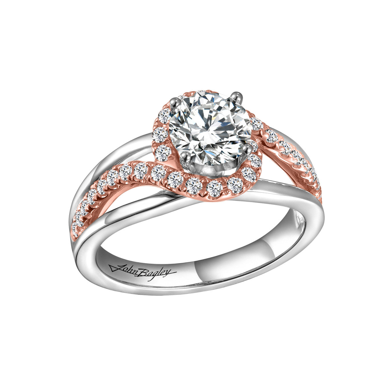 14K White and Rose Gold Halo Engagement Ring