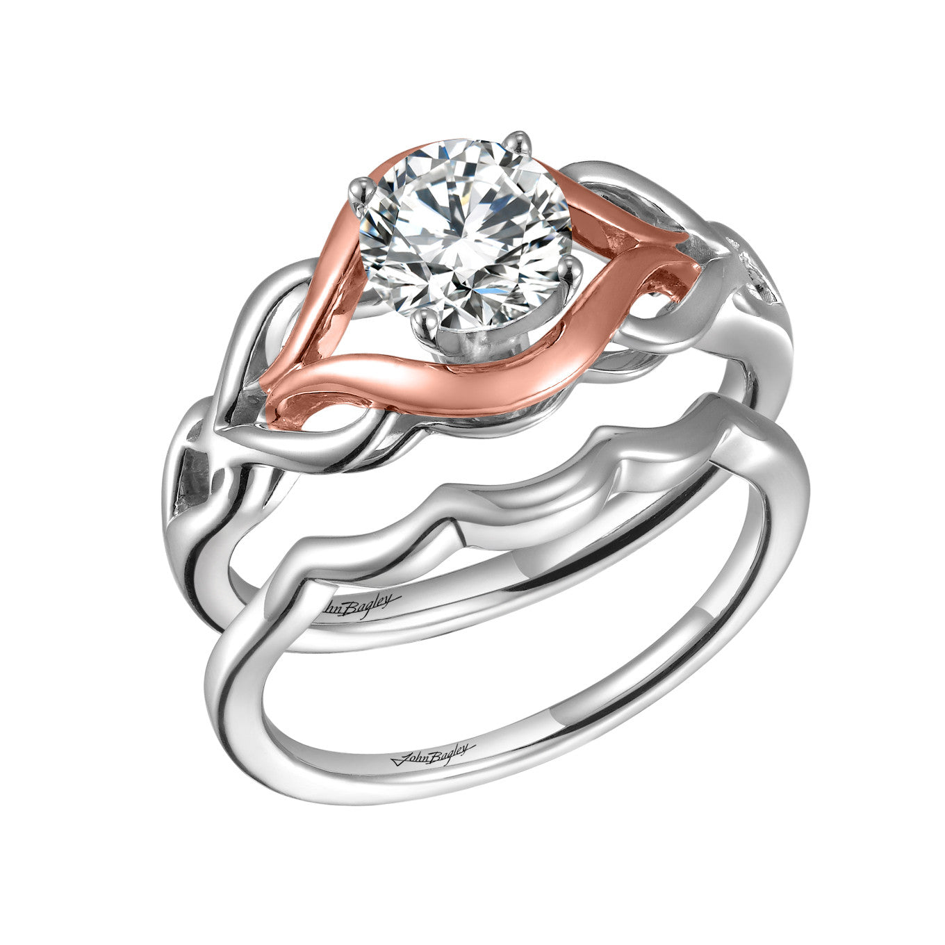Rose Gold Solitaire Engagement Ring Set