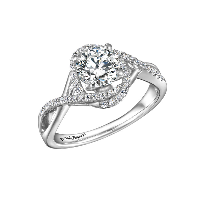 14kt White Gold Diamond Freeform Halo Engagement Ring