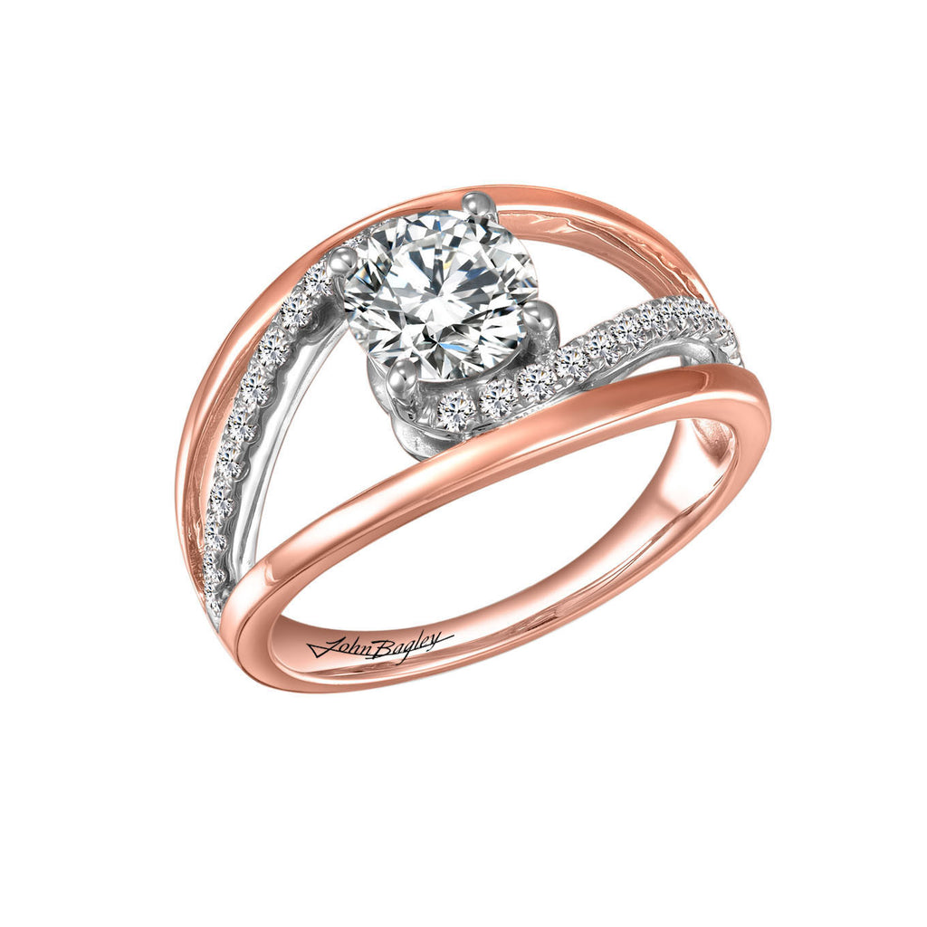 14kt Rose and White Gold Engagement Ring