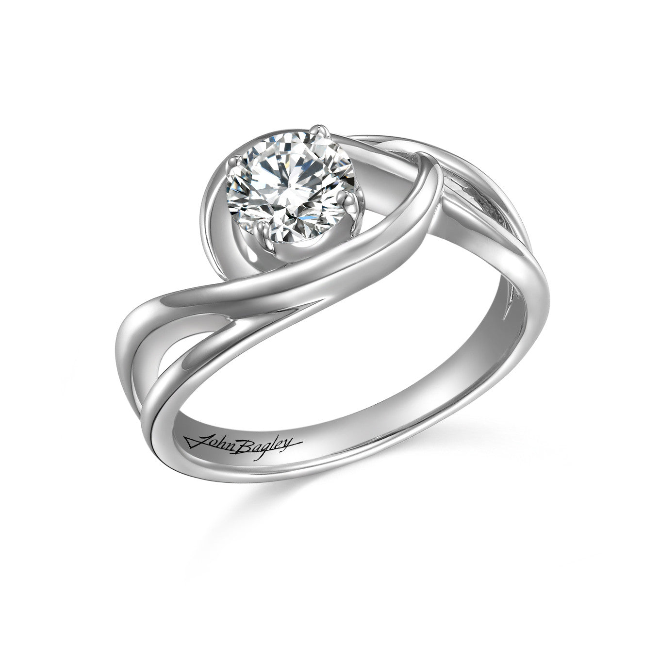 Split-Swirl Engagement Ring