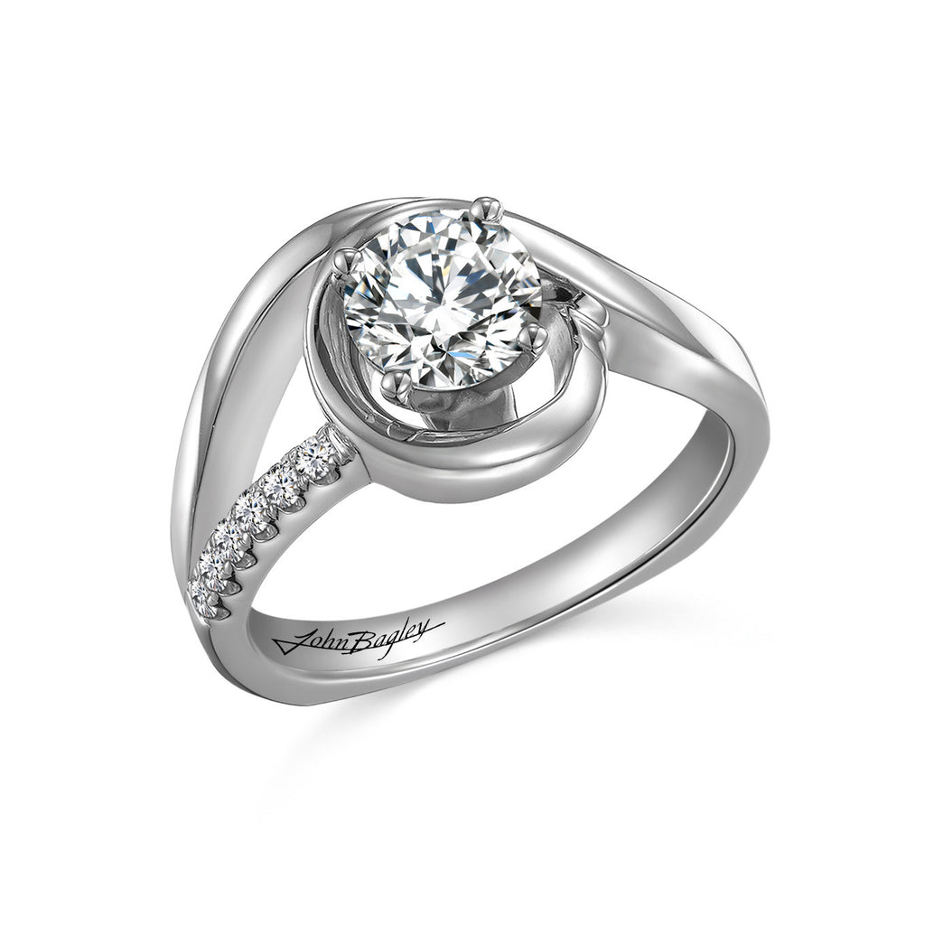 14kt White Gold Diamond Curve Engagement Ring