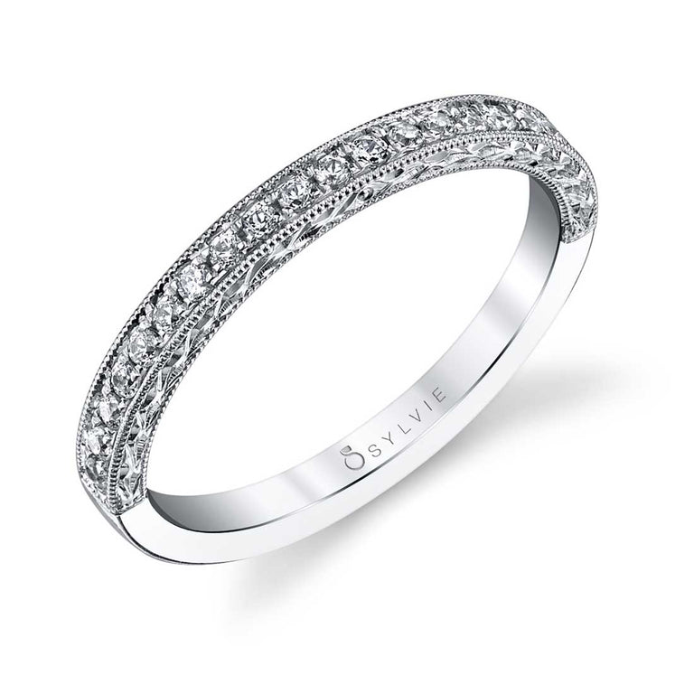 Romantic Round Diamond Wedding Band BSY970 - Chalmers Jewelers