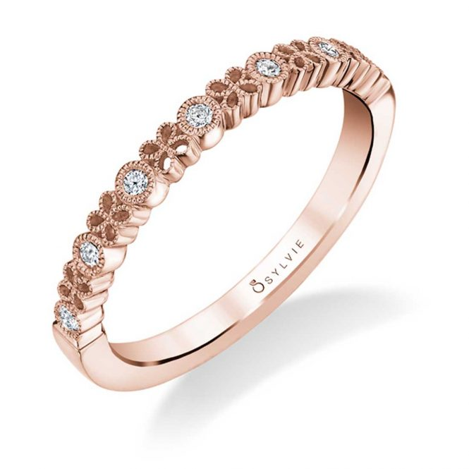 Sylvie Floral Stackable Wedding Band - B0031 - Chalmers Jewelers