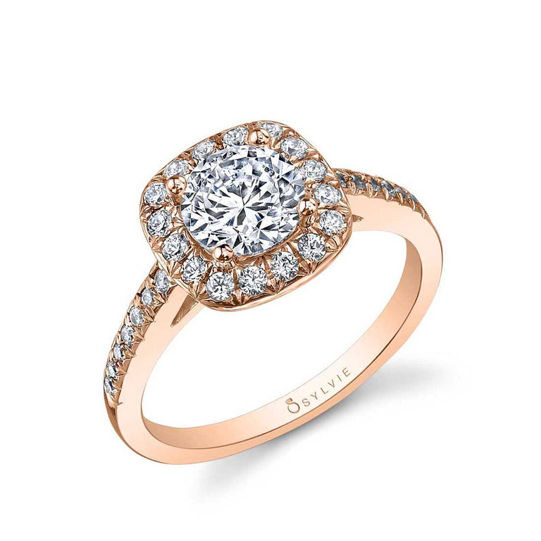 Round Engagement Ring With Cushion Halo SY995 - Chalmers Jewelers