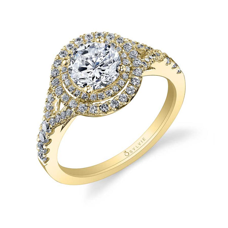 Round Double Halo Engagement Ring S1100 - Chalmers Jewelers