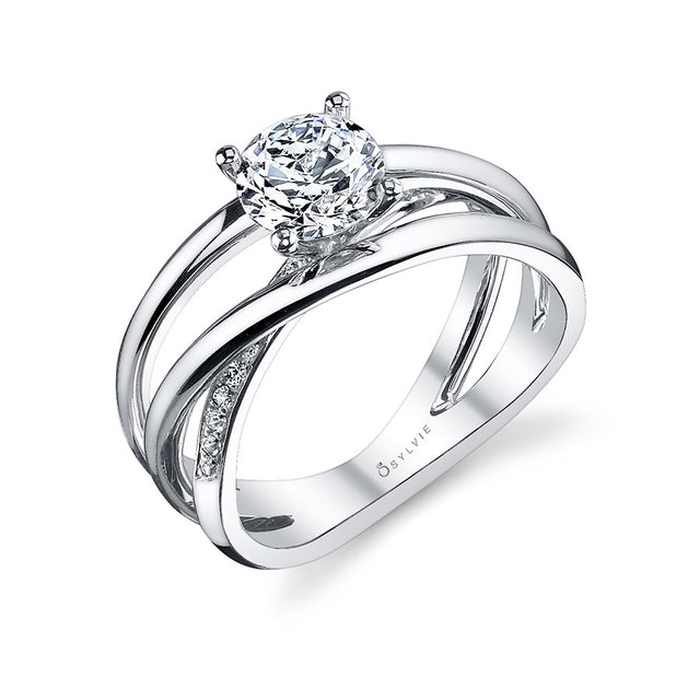 Modern Criss-Cross Solitaire Diamond Engagement Ring