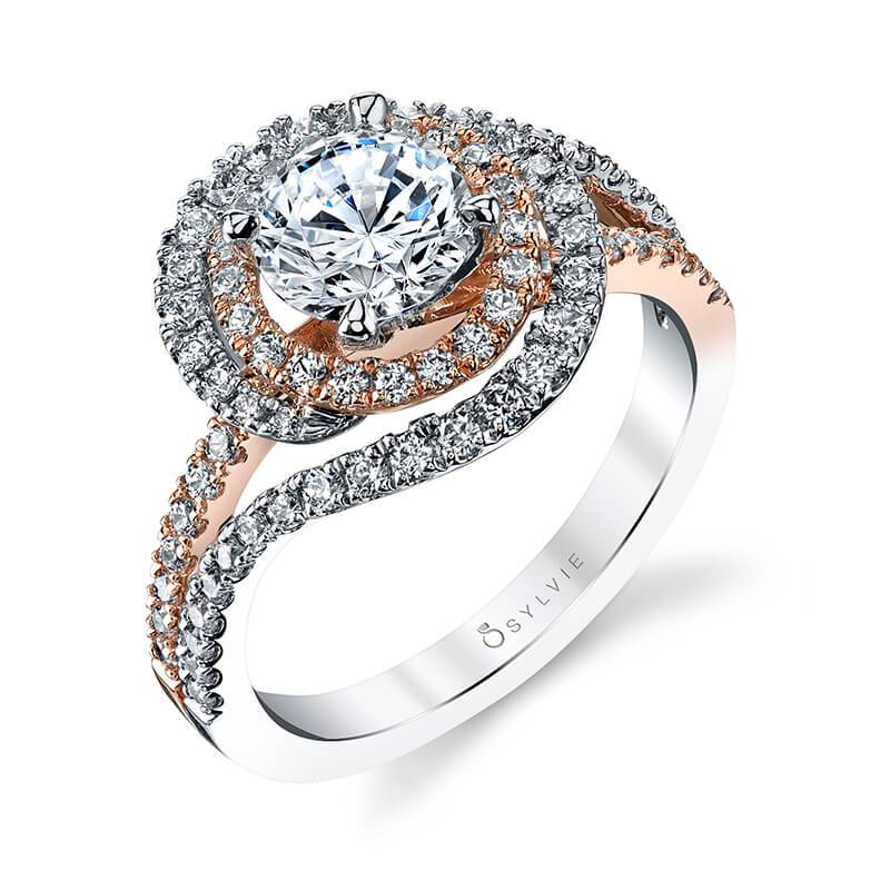 Unique Double Halo Engagement Ring Two Tone S1121-TT - Chalmers Jewelers