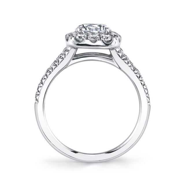 Split Shank Engagement Ring With Cushion Cut Halo S1358 - Chalmers Jewelers