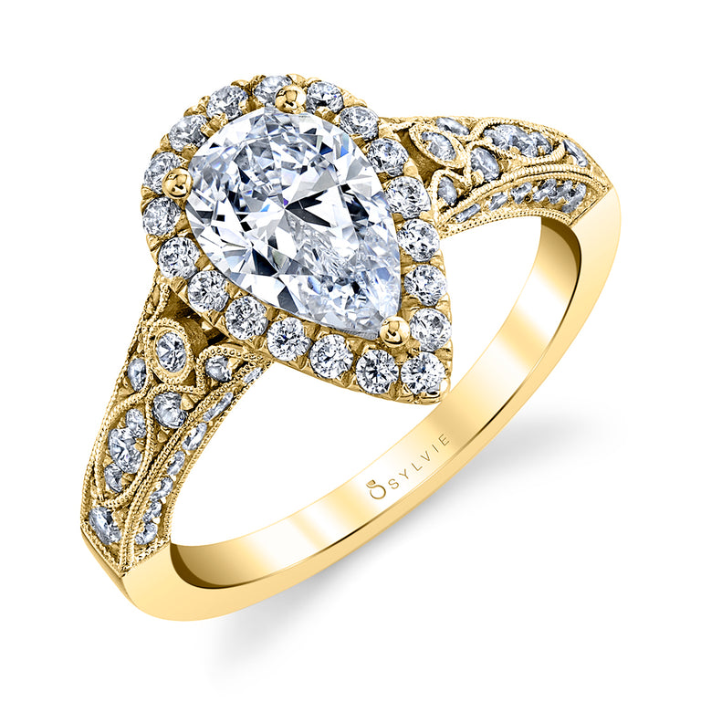 Pear Shaped Engagement Ring With Halo S1409-PS - Chalmers Jewelers