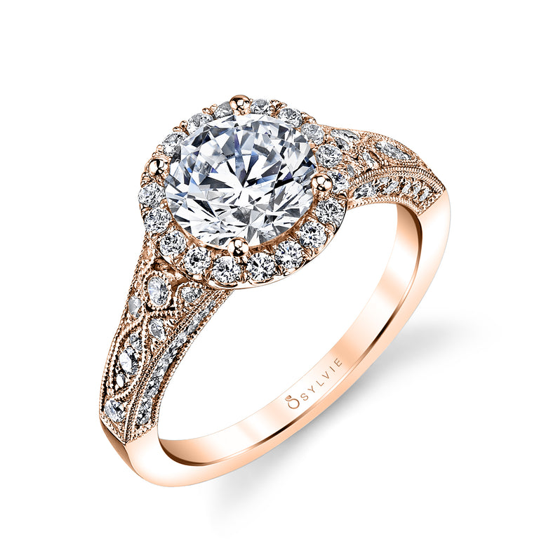 Vintage Inspired Halo Engagement Ring S1409 - Chalmers Jewelers