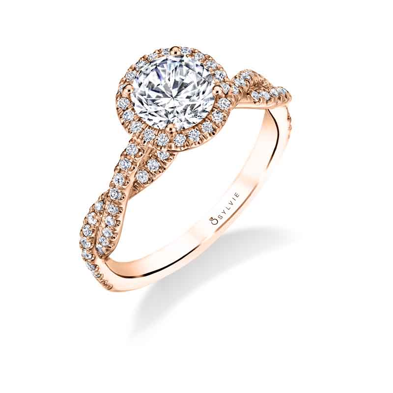 Modern Spiral Engagement Ring With Halo S1723 - Chalmers Jewelers