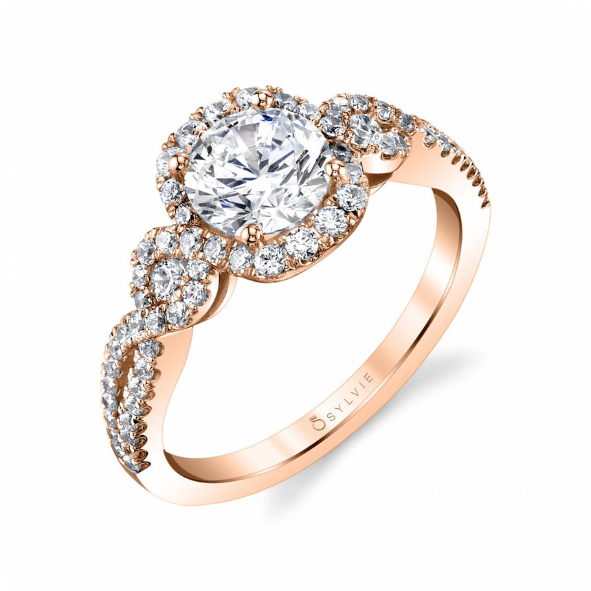 Modern Spiral Engagement Ring With Halo S1808 - Chalmers Jewelers