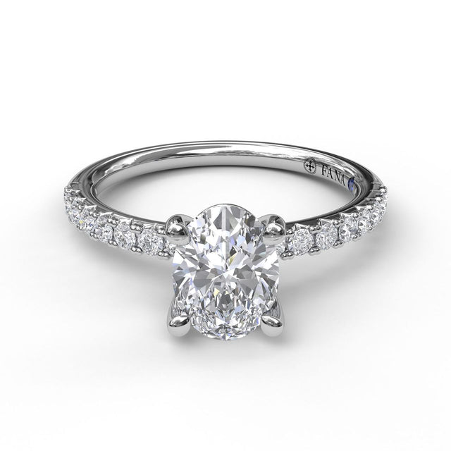 Classic Single Row Engagement ring with an Oval Center Diamond 3002 - Chalmers Jewelers
