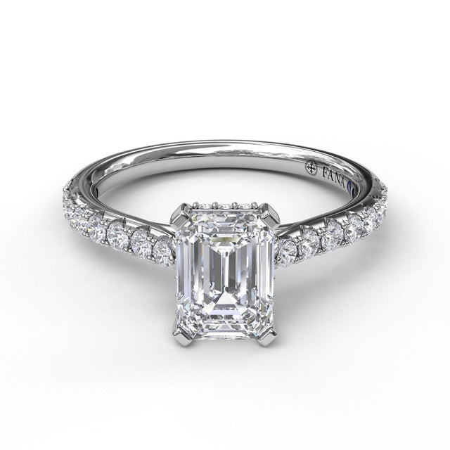 Emerald Cut Solitaire With Hidden Halo 3023 - Chalmers Jewelers