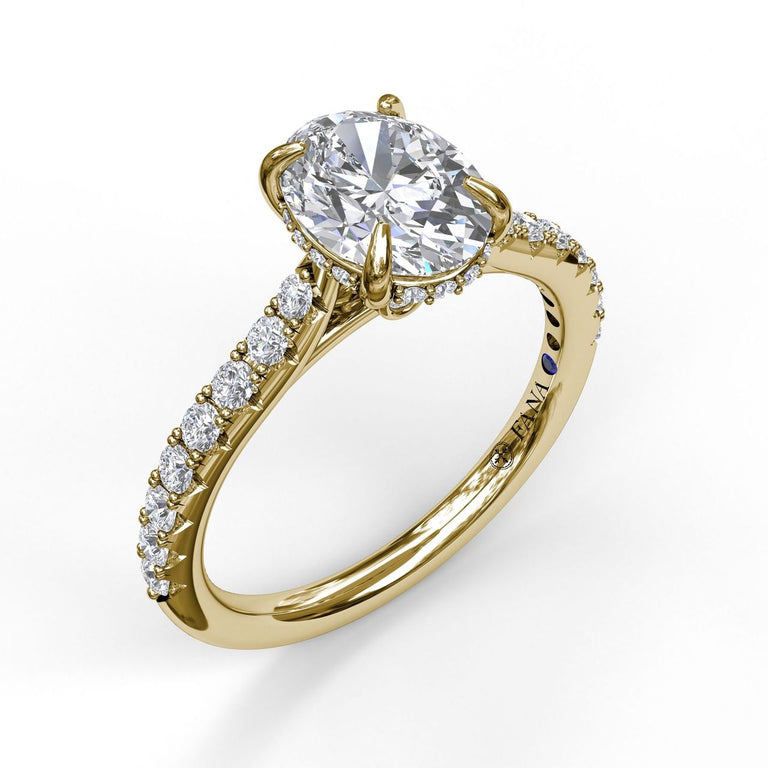 Classic Oval Cut Solitaire With Hidden Halo 3025 - Chalmers Jewelers