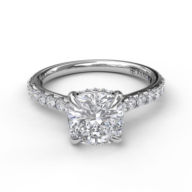 Classic Cushion Cut Solitaire With Hidden Halo 3026 - Chalmers Jewelers