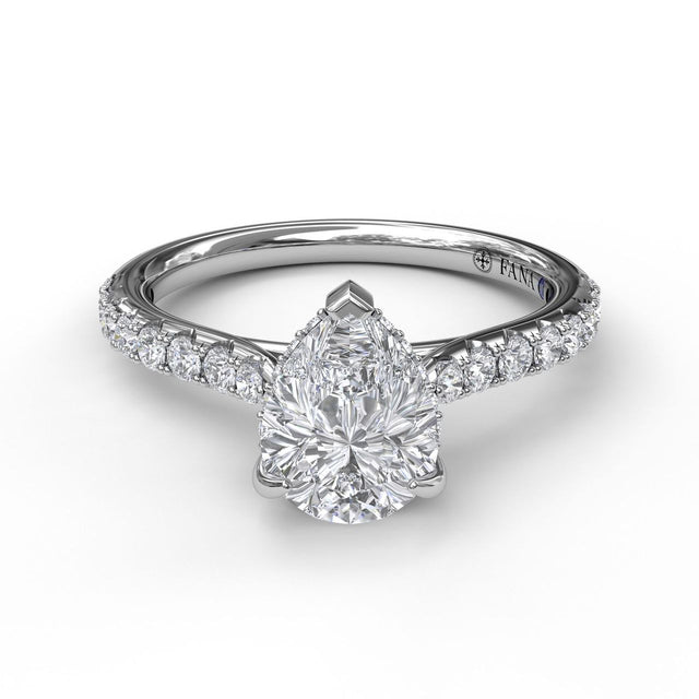 Classic Pear Cut Solitaire With Hidden Halo 3027 - Chalmers Jewelers