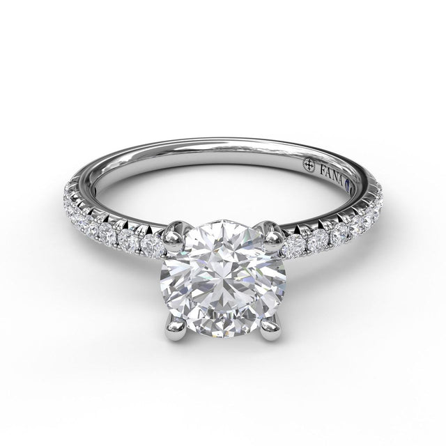 Petite Round Cut Solitaire With Pave Shank 3028 - Chalmers Jewelers