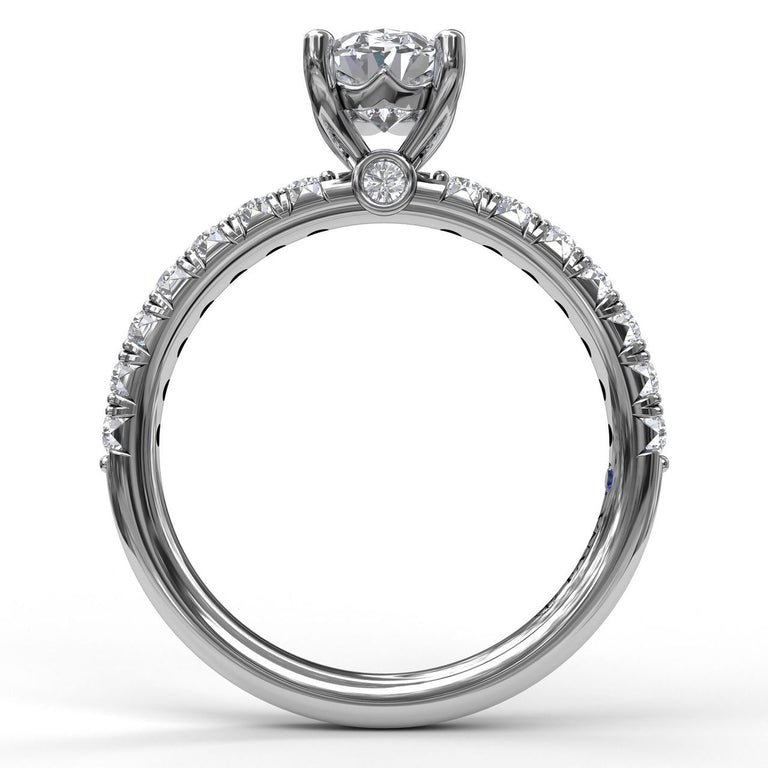 Oval Cut Solitaire With French Cut Pave 3031 - Chalmers Jewelers