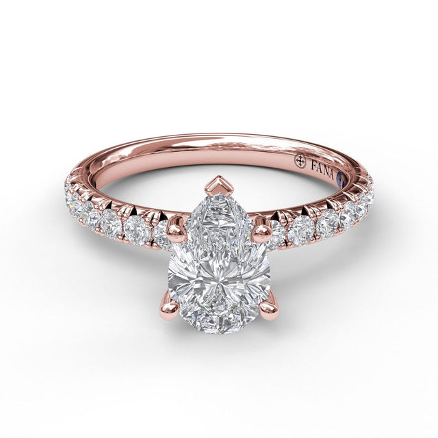 Five-Prong Pear Cut Solitaire Ring With Pave 3032 - Chalmers Jewelers