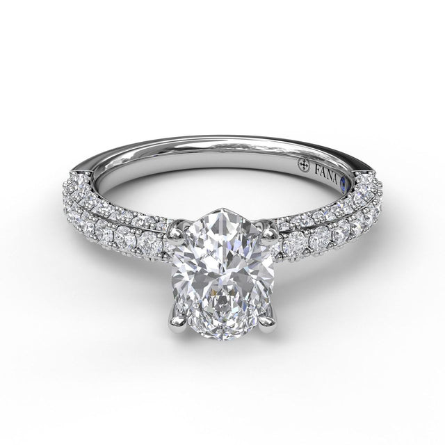 Diamond-Encrusted Engagement Ring with Oval Center 3035 - Chalmers Jewelers