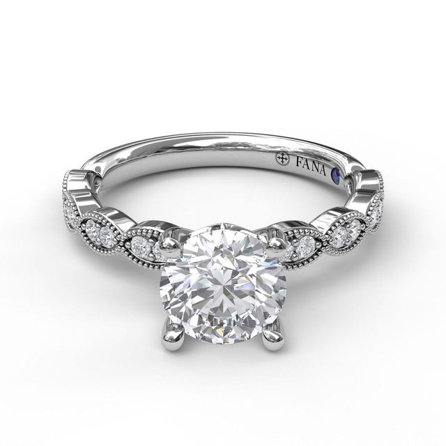 Classic Diamond Engagement Ring with a Delicate Milgrain Edge 3038 - Chalmers Jewelers