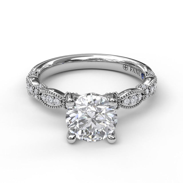 Classic Diamond Engagement Ring with Detailed Milgrain Band 3039 - Chalmers Jewelers