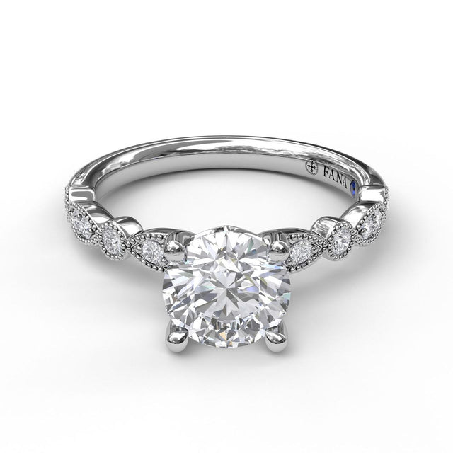 Classic Diamond Engagement Ring with Detailed Milgrain Band 3040 - Chalmers Jewelers