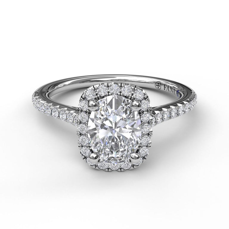 Oval Center Diamond With Cushion Halo Engagement Ring 3041 - Chalmers Jewelers