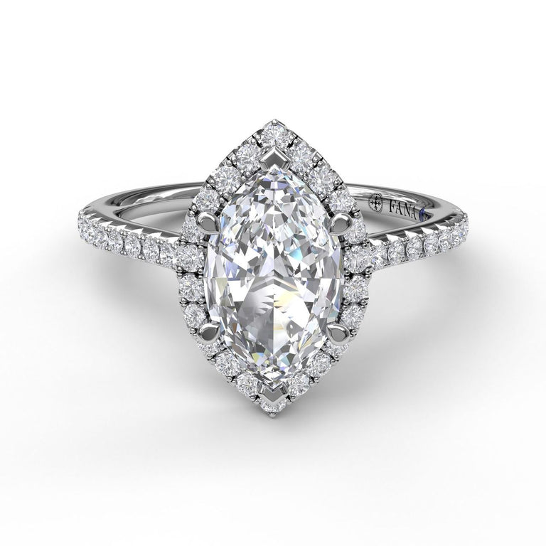 Marquise Diamond With Halo Engagement Ring 3042 - Chalmers Jewelers