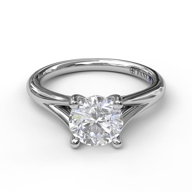 Round Cut Solitaire With Delicate Split Band 3045 - Chalmers Jewelers