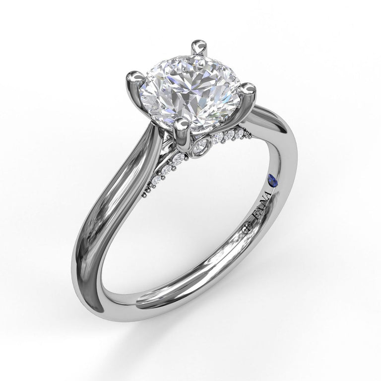 Round Cut Solitaire With Decorated Bridge 3046 - Chalmers Jewelers