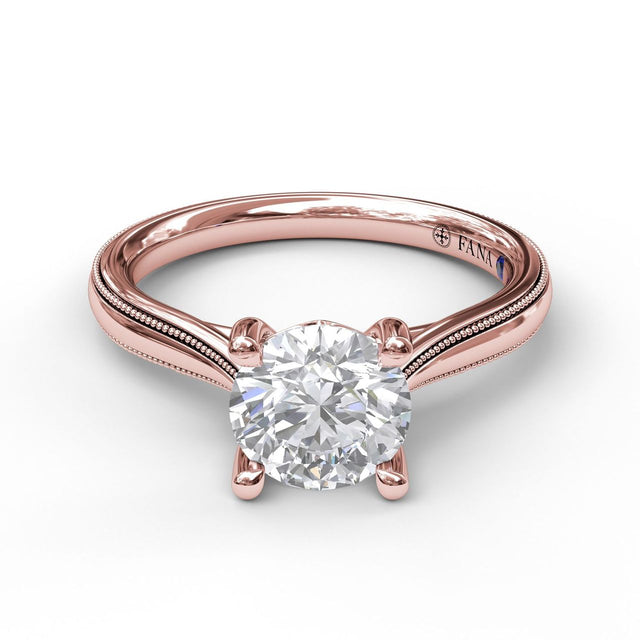 Round Cut Solitaire With Milgrain-Edged Band 3047 - Chalmers Jewelers