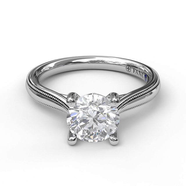 Round Cut Solitaire With Milgrain-Edged Band 3047