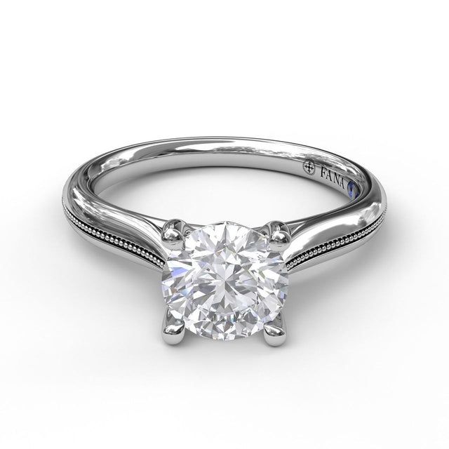 Round Cut Solitaire With Detailed Milgrain Band 3048