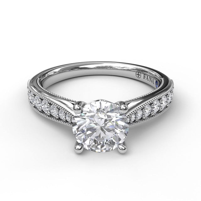Classic Diamond Engagement Ring with Detailed Milgrain Band 3053 - Chalmers Jewelers