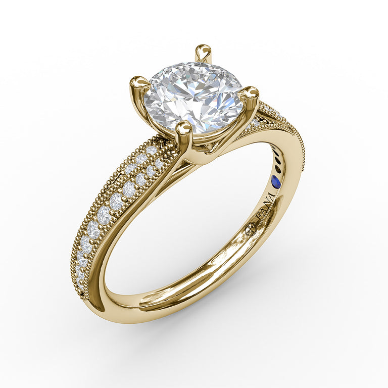 Classic Diamond Engagement Ring with Detailed Milgrain Band 3054 - Chalmers Jewelers