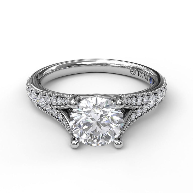 Subtle Split Band Engagement Ring With Milgrain Detail 3055 - Chalmers Jewelers