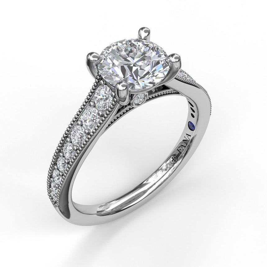Classic Diamond Engagement Ring with Detailed Milgrain Band 3056 - Chalmers Jewelers