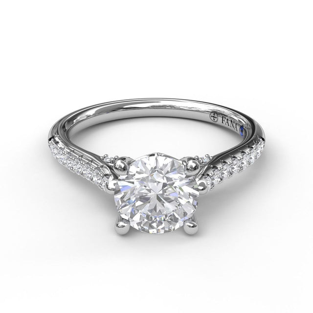 Classic Diamond Engagement Ring with Beautiful Side Detail 3058 - Chalmers Jewelers