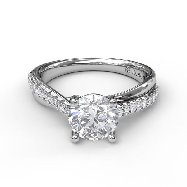 Round Cut Solitaire With Criss Cross Band 3059 - Chalmers Jewelers