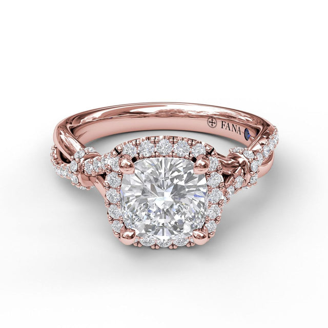 Cushion Halo Engagement Ring with a Interwoven Band 3060 - Chalmers Jewelers