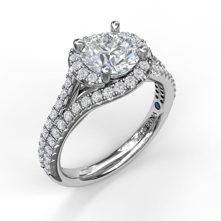 Round Halo Engagement Ring with a Split Shank Band 3061 - Chalmers Jewelers